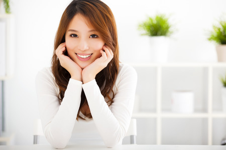 smile faces: beautiful young smiling asian woman