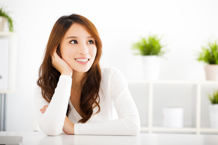 contemplate: beautiful young asian woman thinking something Stock Photo
