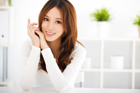 charming: Young attractive asian woman with clean skin