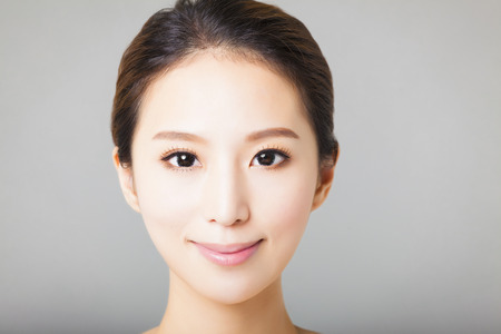 clean face: closeup smiling young  beautiful asian woman face