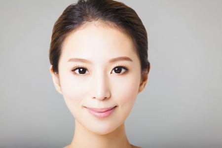Nahaufnahme lächelnde junge schöne asiatische Frau Gesicht