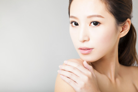 make up face: closeup young  beautiful woman face