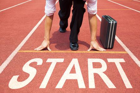 사업가 트랙에서 경주를위한 준비 스톡 콘텐츠 - 37229044