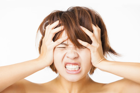 angry sad: Closeup stressed young woman and yelling screaming
