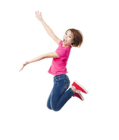 vzrušený: Mladá žena šťastná a student skákat Reklamní fotografie