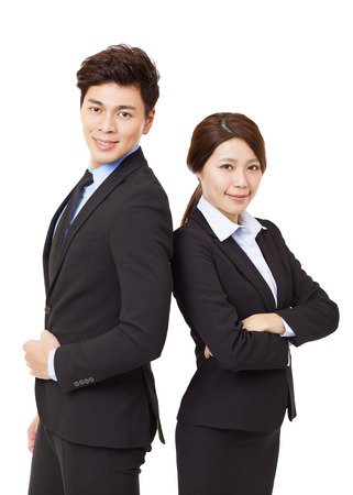 chinese people: young business man and woman isolated on white Stock Photo