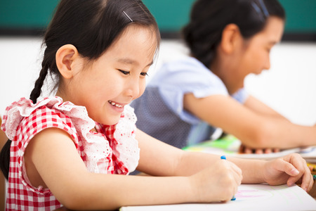 happy children in the classroom Stock Photo