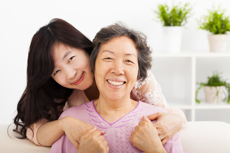 happy asian people: happy mother and her daughter