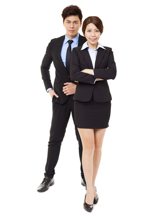 asian business people: full length businessman and businesswoman isolated on white