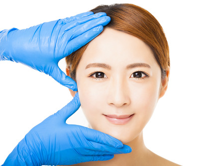 medical procedure: closeup young   woman face with medical beauty concept