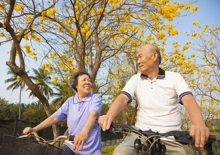 jubilados: feliz pareja de ancianos que monta la bicicleta en el parque Foto de archivo