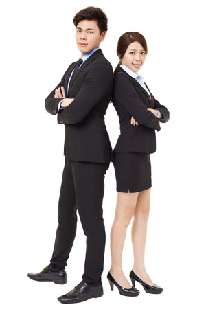 full length: full length businessman and businesswoman isolated on white