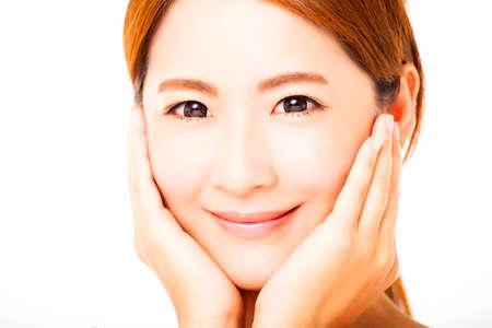 make up face: closeup smiling young woman face