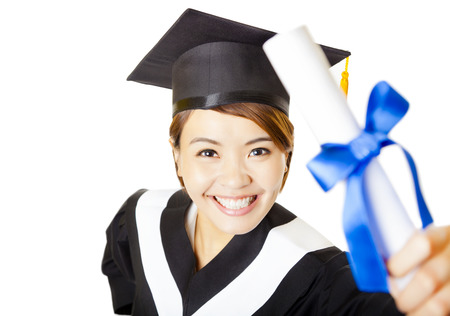 academic robe: top view happy young woman graduating holding diploma Stock Photo