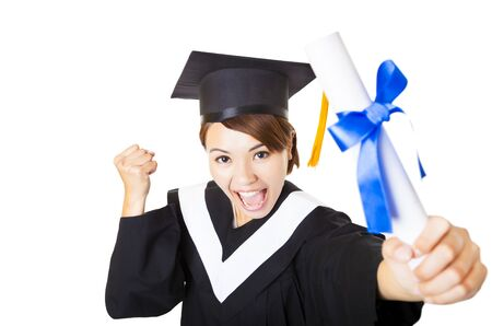 top view happy young woman graduating holding diploma Stock Photo