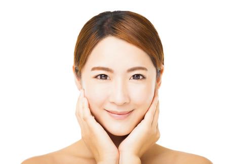 closeup smiling young woman face photo