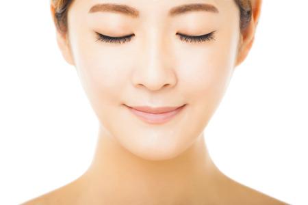closeup beautiful young woman face photo
