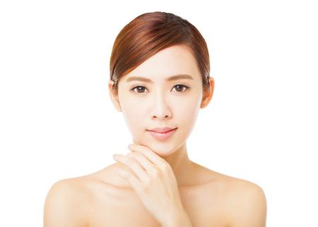 beauty make up: closeup beautiful young woman face