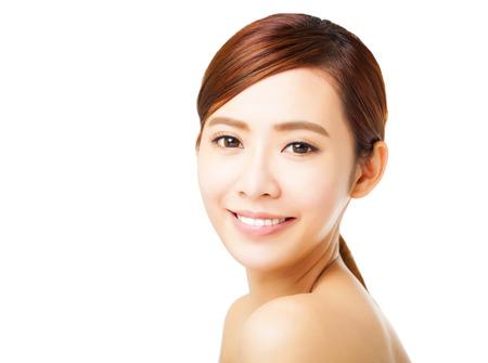 piel humana: primer plano la cara hermosa mujer joven Foto de archivo