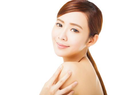 shoulders: primer plano la cara hermosa mujer joven Foto de archivo