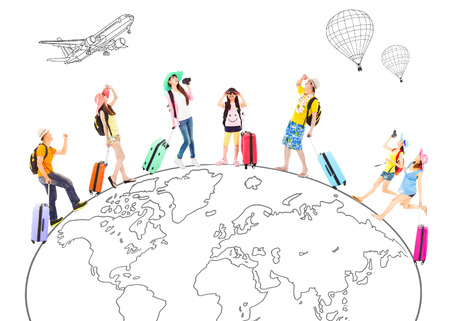 people travel around the world and Global map concept photo