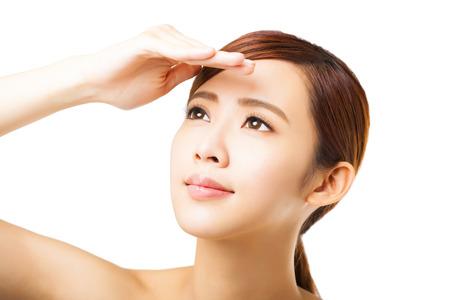 luz do sol: closeup rosto jovem mulher Imagens
