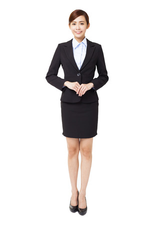 full length young smiling businesswoman