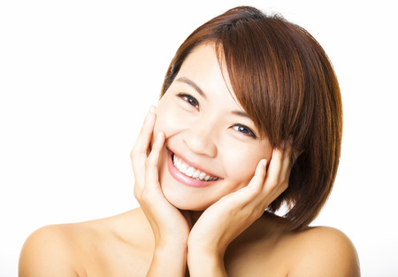 happy and beautiful young woman face Stock Photo
