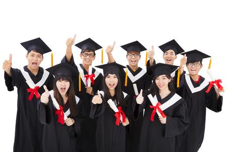 Group Of happy asian Students Celebrating Graduation photo