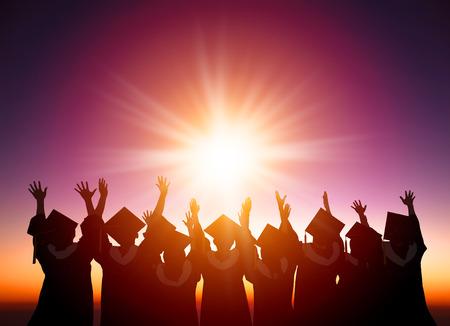 birrete de graduacion: silueta de estudiantes que celebra la graduación viendo la luz del sol
