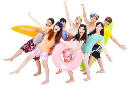 viagem: verão, praia, férias, conceito do curso grupo jovem e feliz Banco de Imagens