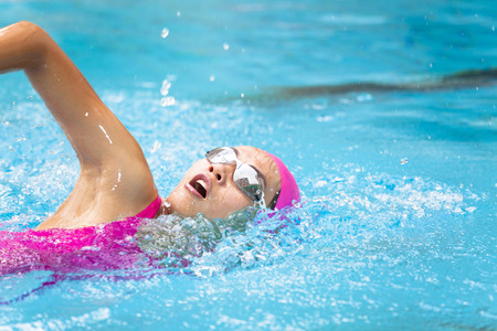 pool: young women is swimming in the pool Stock Photo