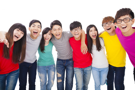 arms around: young student group  with arms around each others shoulders