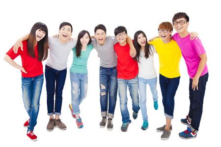 full length: volledige lengte van gelukkige jonge student groep Stockfoto