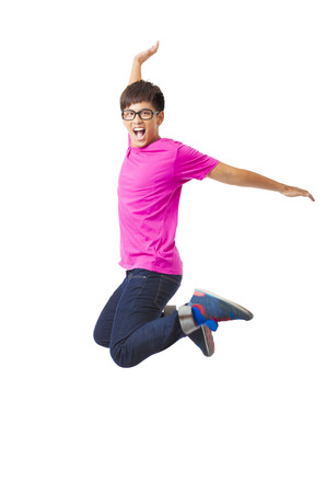 young happy man jumping and isolated on white Stock Photo