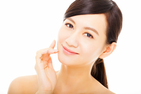 health and beauty: closeup beautiful asian young woman face Stock Photo