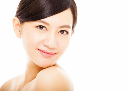 model face: closeup beautiful asian young woman face Stock Photo