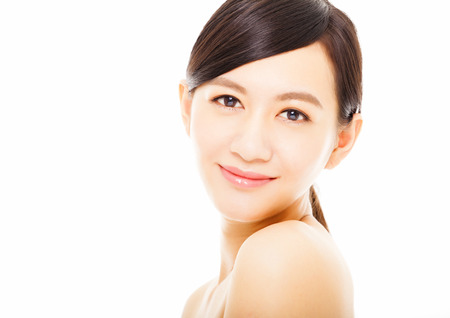 beauty face: closeup beautiful young woman face
