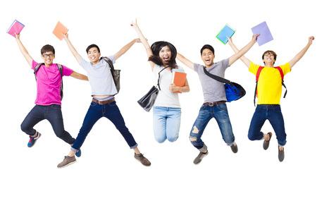 함께 점프 행복 학생 그룹 스톡 콘텐츠