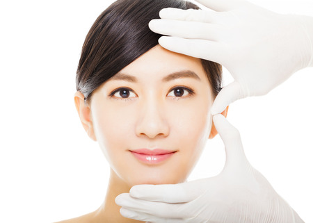 beauty women: closeup young  woman face with medical beauty concept