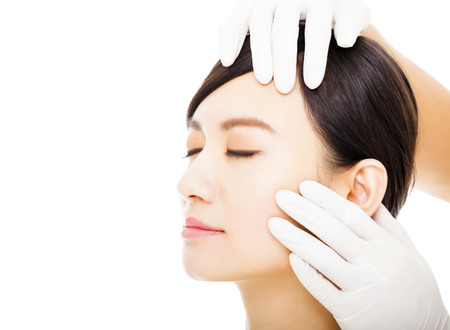 medical professional: closeup young  woman face with medical beauty concept