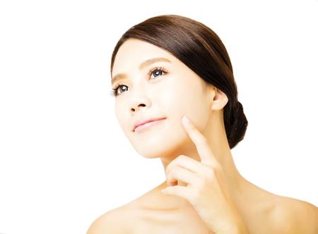 美しさ: クローズ アップ若い美しさ女性顔 写真素材