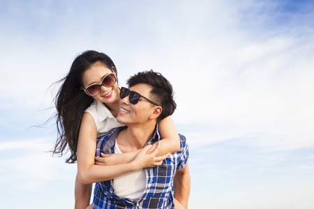 couple dating: happy young couple having fun and enjoy summer vacation