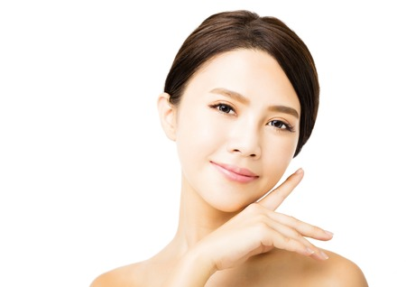 closeup young beauty woman face 写真素材