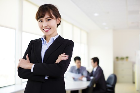 asian office lady: Young business woman working in the office