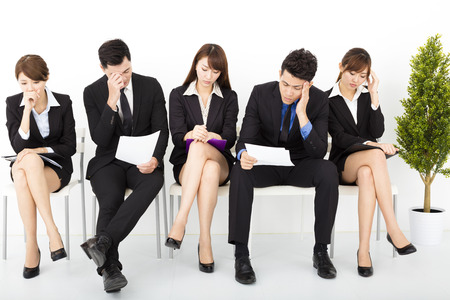 office meeting: stress business people waiting for interview