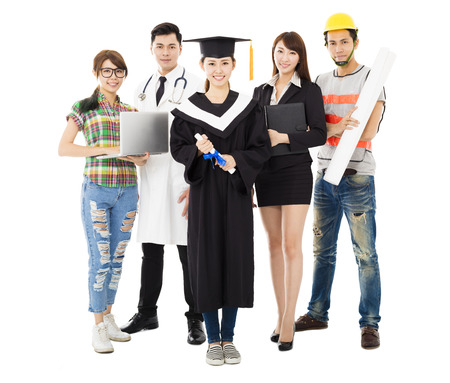 occupation: Group of diverse people in different occupations standing with graduation
