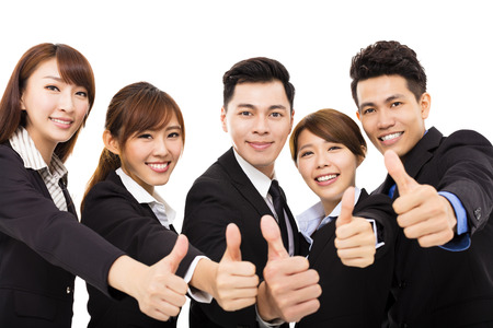 staff team: smiling business people with thumbs up