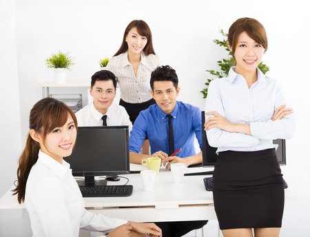 happy business people working in the office Stock Photo
