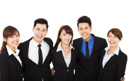 gente exitosa: grupo de gente de negocios feliz aislado en blanco